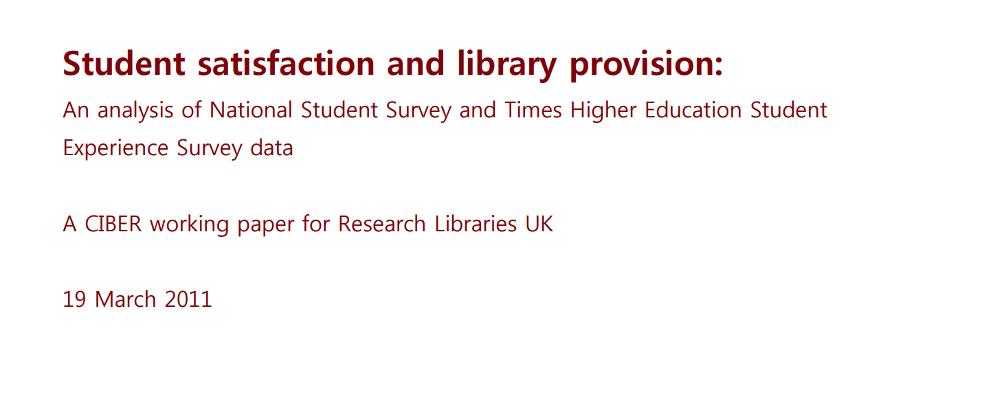 Student satisfaction and library provision