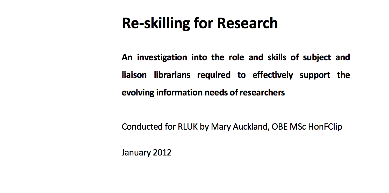 Re-skilling for research