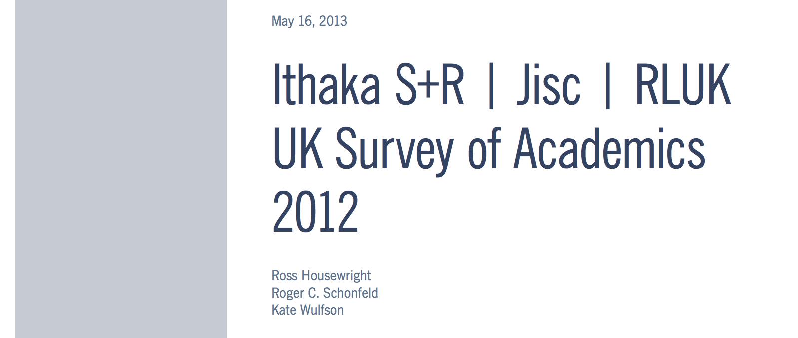 UK Survey of Academics 2012