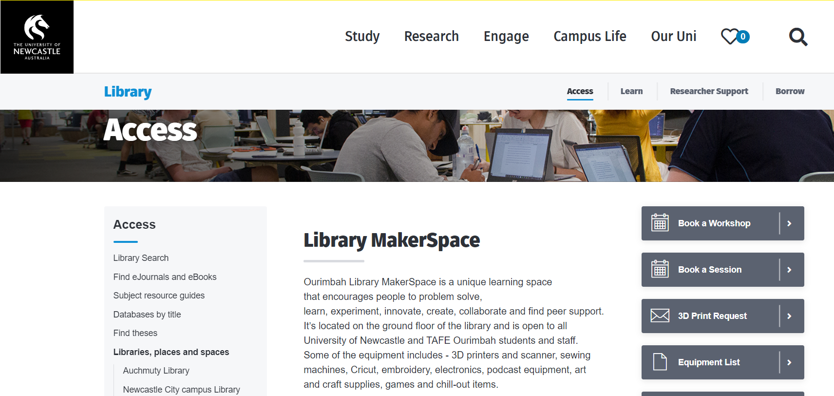 The library provides a range of support services to researchers
